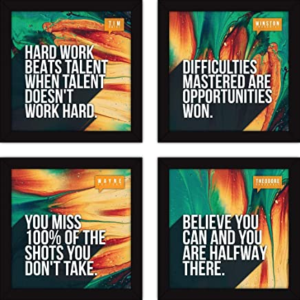 Fatmug Synthetic Motivational Wall Paintings for Living Room with Glass (Multicolour) - Set of 4