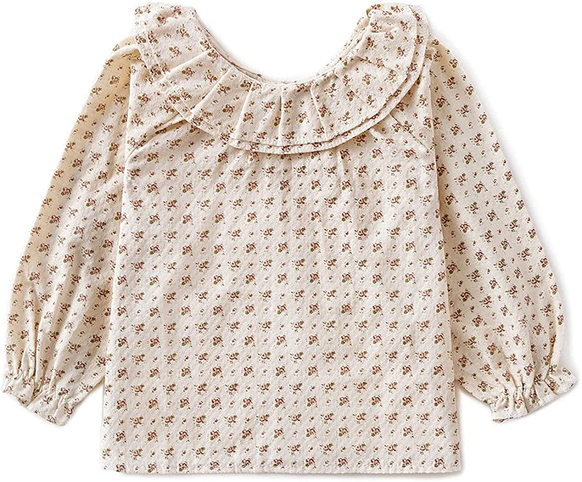 Curipeer Long Sleeve Baby Girls Blouse Casual Floral Toddler Girl Cotton Tops Shirt for Spring