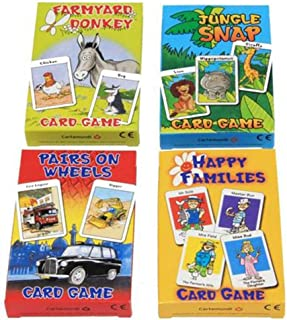 Cuatro juegos de cartas para niños de la marca Carammunmunig - Farmyard Donkey, Happy Families, Jungle Snap & Pairs On Wheels , color/modelo surtido