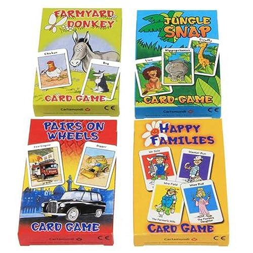 CartaMundi Four Assorted Kids Card Games - Farmyard Donkey, Happy Families, Jungle Snap & Pairs On Wheels