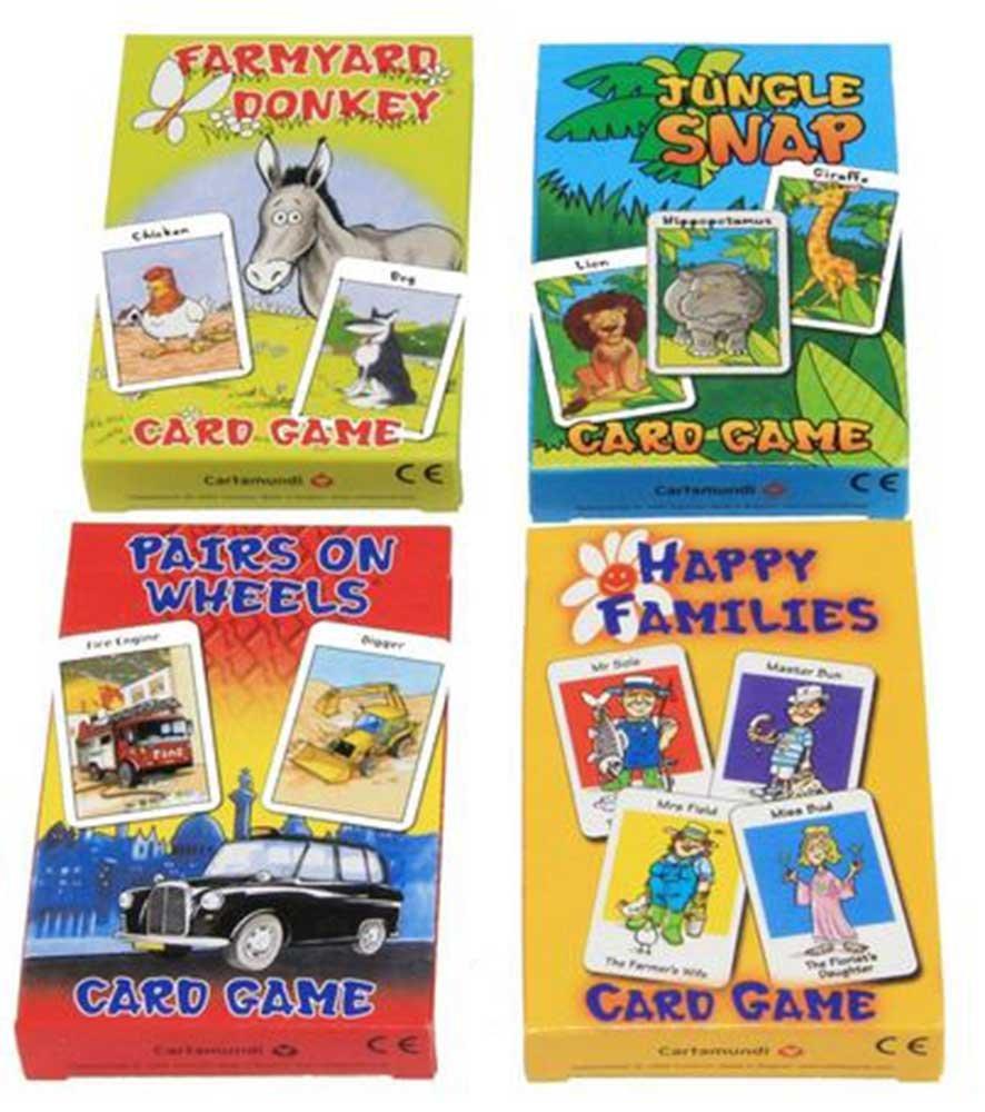 Cuatro juegos de cartas para niños de la marca Carammunmunig - Farmyard Donkey, Happy Families, Jungle Snap & Pairs On Wheels , color/modelo surtido: Amazon.es: Juguetes y juegos