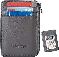 RFID Blocking Secure Minimalist Mini Wallet & RFID Sleeve Genuine Leather Front Pocket Wallet