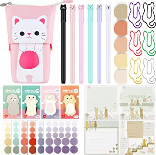 497 Pieces Cat Stationary Set, Transformer Stand Store Pencil Holder Gel Ink Pen Cat Notes Page Index Tabs Cat Shaped Pape...