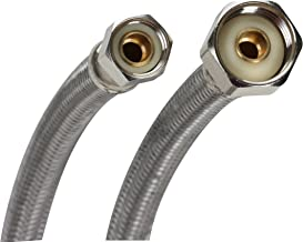 Fluidmaster B1F48 Faucet Connector, Braided Stainless Steel - 3/8 Female Compression Thread x 1/2 F.I.P. Thread, 4 Ft. (48-Inch) Length