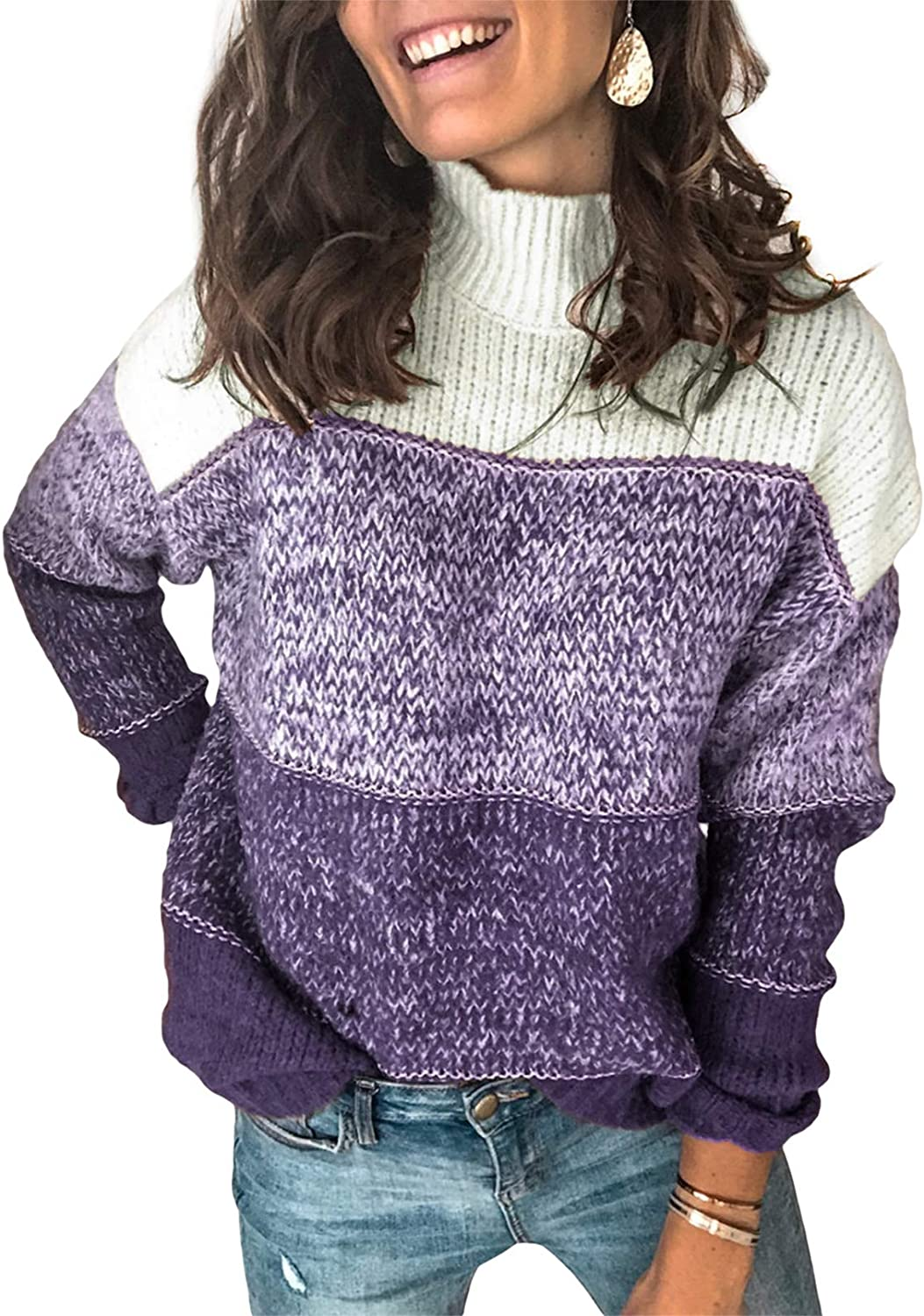 Lovezesent Womens Color Daily bargain sale Block Long Knit Oversized Ribbed Sleeve Chicago Mall