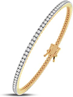 Femme Luxe Sara Diamond Tennis Bracelet for Women (3.00 Carats, G-H Color, I2 Clarity), 14K Yellow or White Gold, with Gif...