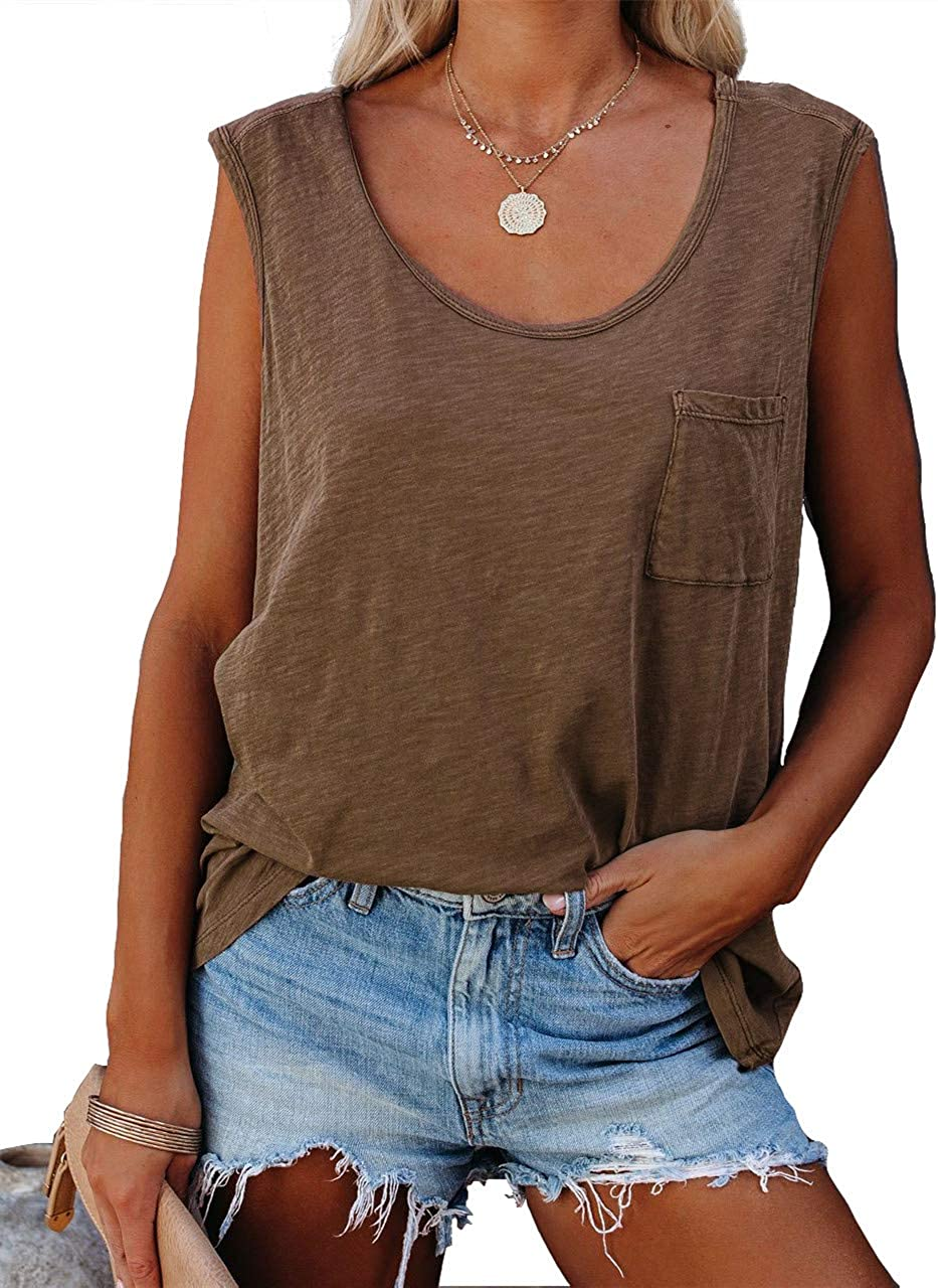 Parrunade Womens Summer Basic Trendy Tank Tops Casual Sexy Sleeveless Loose Fit Cotton Tees Shirts Blouses