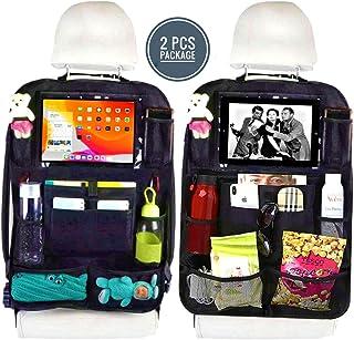 مجموعة من قطعتين - حقيبة تخزين واقية للمقعد الخلفي للسيارة مع حامل تابلت شفاف و9 جيوب للتخزين. لعبة، زجاجة مياه، كتاب، مشر...