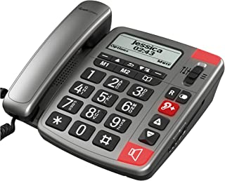 Amplicomms PowerTel 196 - Big Button Phone for Elderly with Display - Loud Phones for Hard of Hearing - Hearing Aid Compatible Phones - Big Number Telephone - Dementia Phone for Elderly