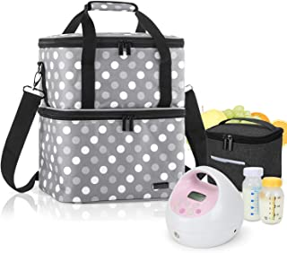 Luxja Breast Pump Bag with 2 Compartments for Breast Pump and Cooler Bag, Pumping Bag for Working Mothers (Fits Most Major...