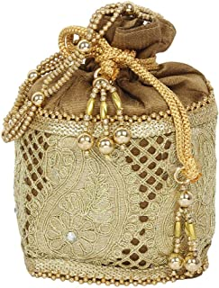 { Extra 10% Discount } Purse Collection Stylish Drawstring Antique Colour Potlli With Embroidery Work Purse For Women