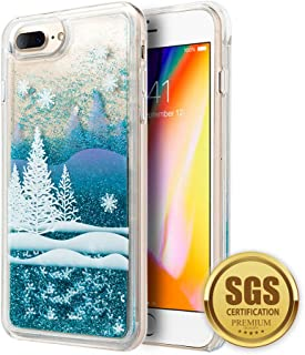 3D Winter Sparkle Glitter Waterfall Phone Case for Apple iPhone 7 Plus / 8 Plus – Interactive Water Liquid Cascade Floating Snow Globe Dynamic Transparent Smartphone Cover w/Snowflakes & Trees