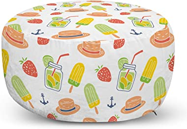 Lunarable Summer Ottoman Pouf, Beach Elements Pattern Cocktails, Decorative Soft Foot Rest with Removable Cover Living Room a