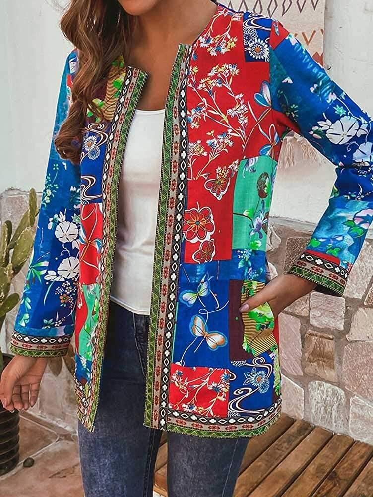 ORANDESIGNE Damen Casual Jacke Jahrgang Blumenmuster Patchwork Übergröße Jacken Langarm Retro Strickjacke Mantel mit Tasche B Rot