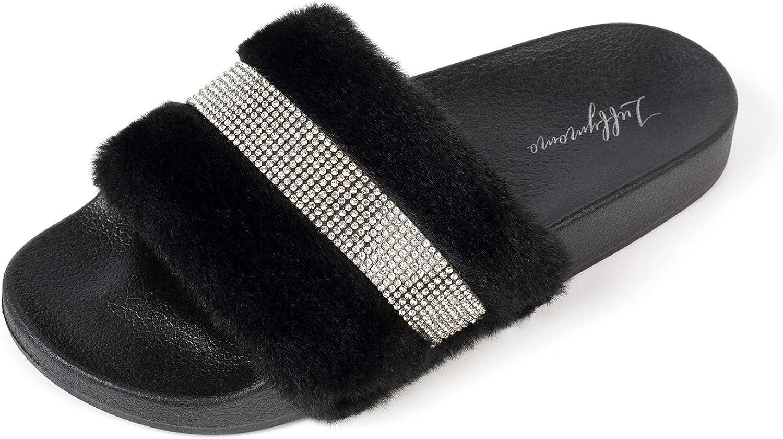LUFFYMOMO Womens Slides Sandals,Rhinestone Flat Indoor Outdoor Soft Slippers