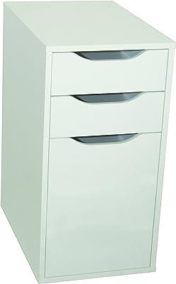 Phoenix 806213WE Container für Schreibtisch, Holz, Weiss, 55x36x50 cm