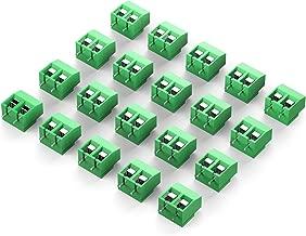 DIYhz green 20PCS 2P 2 Pin Screw Terminal Block Connector 5mm Pitch for Arduino 8A 250V HZ126