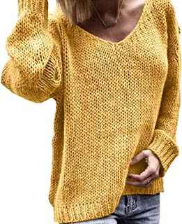 Women Winter Fashion Casual V Neck Long Sleeve Pullover Knitted Sweater Blouse