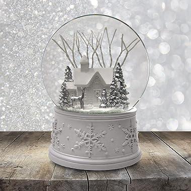 The San Francisco Music Box Company 100MM White Christmas Snow Globe