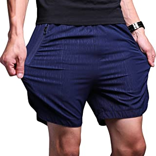 LTIFONE Mens Gym Quick Dry Shorts Workout Training Running Vertical Stripe Shorts with Zipper Pocket