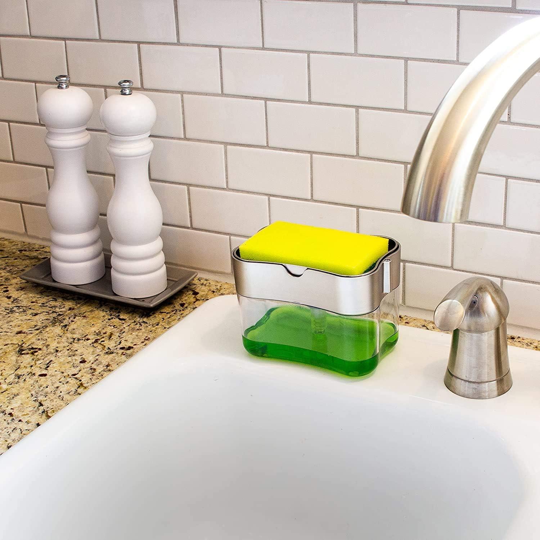 SJ 2 in 1 Soap Pump Dispenser and Sponge Holder, 13 Ounces (Silver)