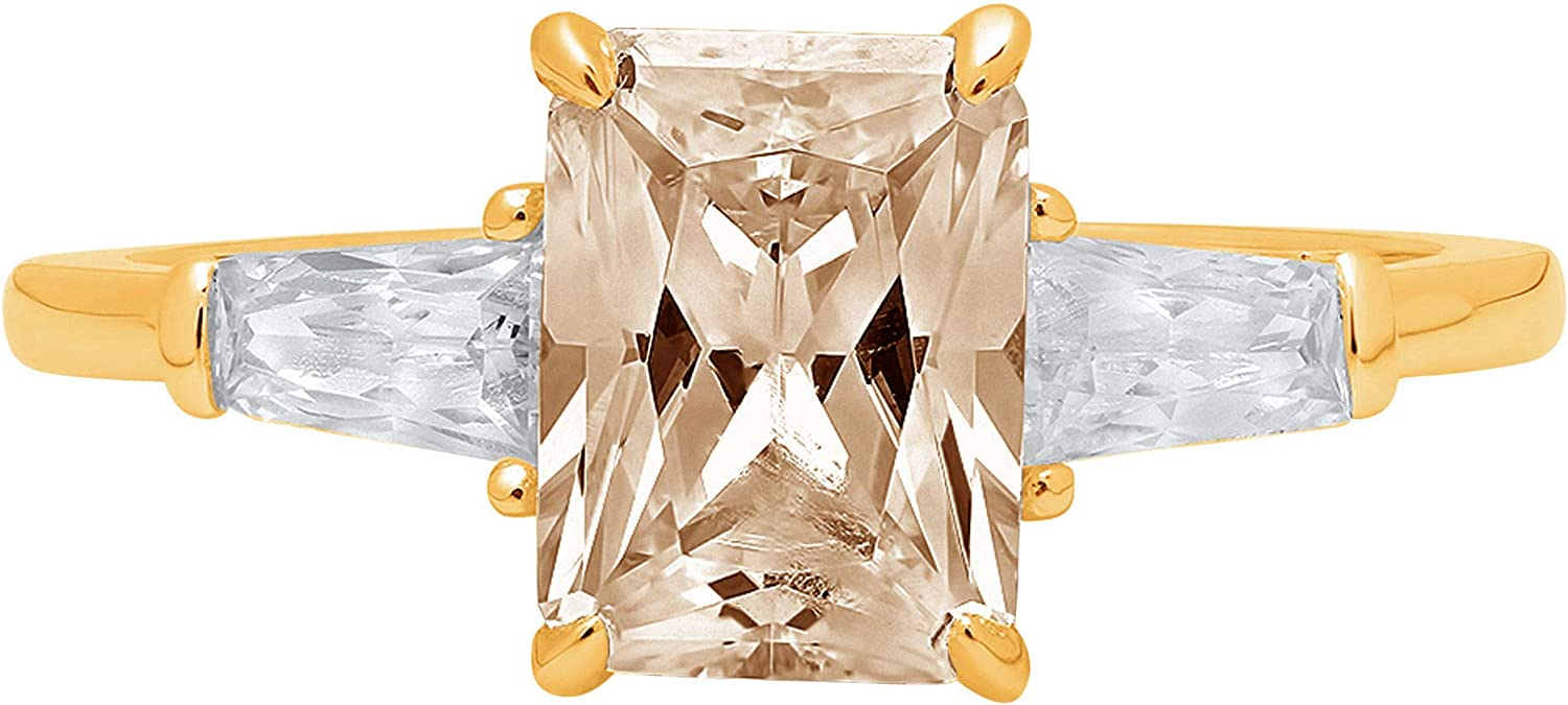 1.94ct Emerald Baguette cut 3 stone Solitaire with Accent Brown Champagne Ideal VVS1 Simulated Diamond CZ Engagement Promise Statement Anniversary Bridal Wedding Ring 14k Yellow Gold