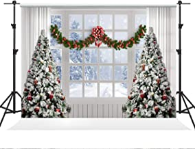 Kate 7×5ft Winter Christmas Background White Window and Christmas Tree Background Christmas Snow Scene Photo Studio Props