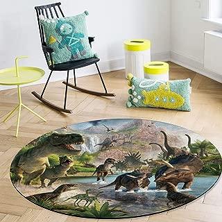 OneHoney Round Area Rugs, Jurassic Garden Dinosaur Indoor Entryway Doormat Throw Runner Rug Floor Carpet Pad Yoga Mat for Living Room Bedroom Cartoon Animal World 5Feet