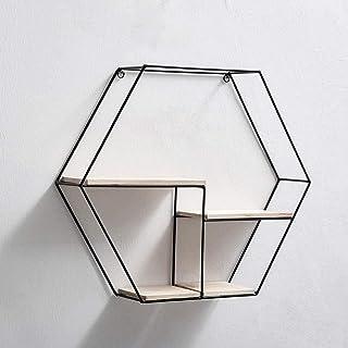 Luyshts étagère Murale étagères hexagonales, étagères flottantes murales Support d'étagère décoratif en Bois et en métal p...