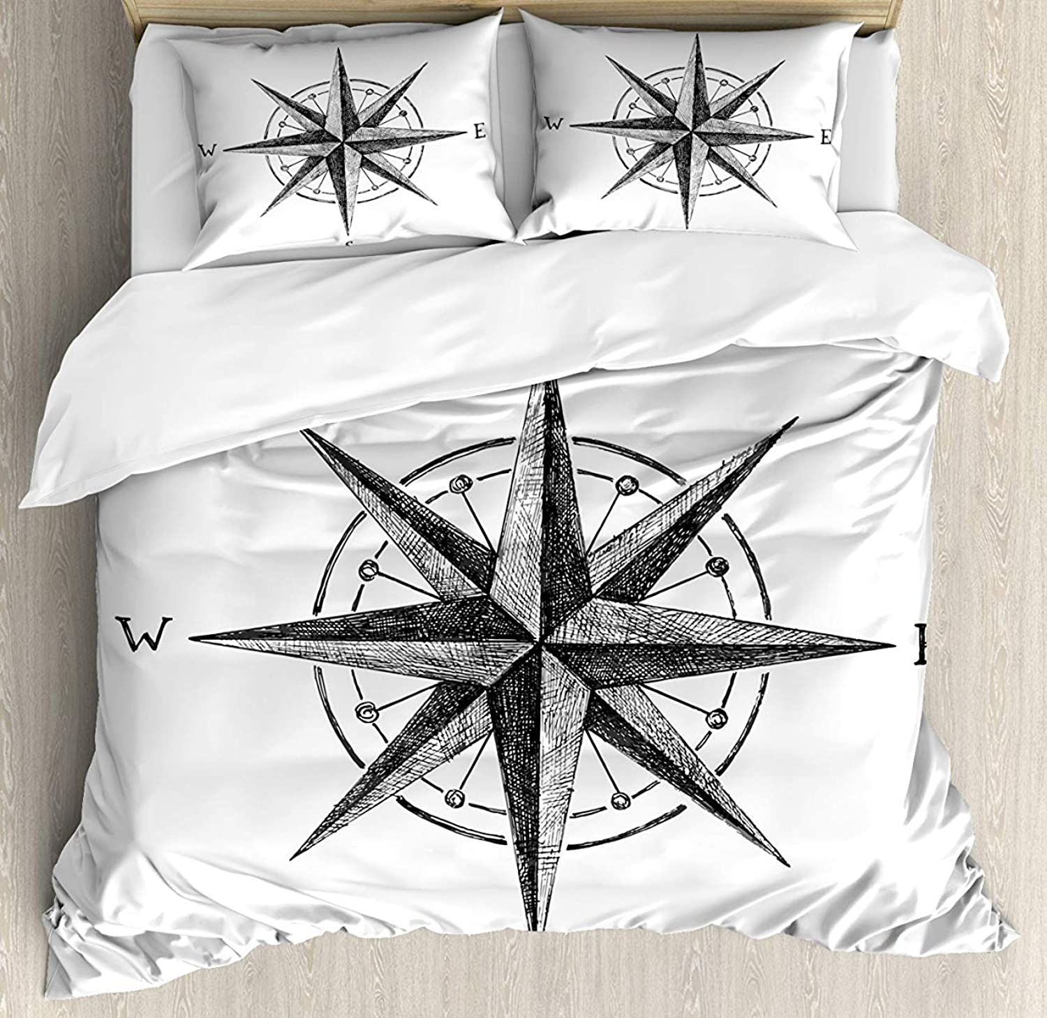Compass 4pcs Bed Set Seamanship Hand Drawn Windpink with Complete Directions North South West Bedding Sets Duvet Cover Flat Sheet No Comforter with Decorative Pillow Shams for Kids Adults Teens