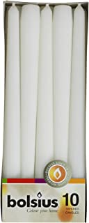 """Bolsius Tapered Dinner Candles, """"White Box"""", Pack of 10"""