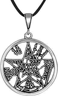 eJewelryPlus Sterling Silver Tetragrammaton Pentagram YHWH Pagan Wiccan Pendant XL 40mm