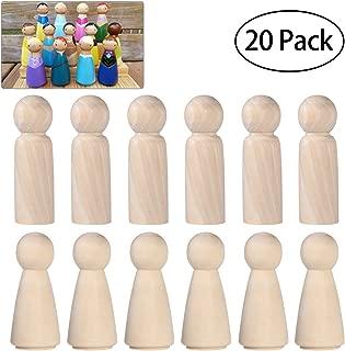 ULTNICE 20PCS Wooden Peg Doll Unfinished Wooden People Bodies Angel Dolls For DIY Craft