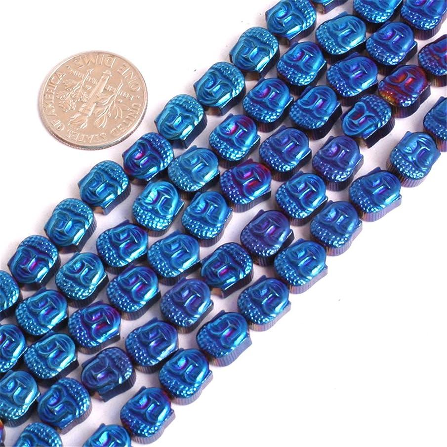 JOE FOREMAN 8mm Hematite Semi Precious Gemstone Mala Buddha Head Blue Metallic Coated Loose Beads for Jewelry Making DIY Handmade Craft Supplies 15