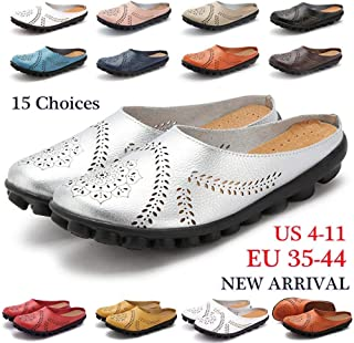 Breathable Women Fashion Genuine Leather Flat Shoes Comfortable Casual Loafers Ballet Shoes(Orange,US 4.5-EU 35)