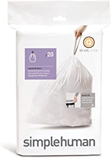 simplehuman Code Q Custom Fit Trash Can Liner, 1 refill pack (20 liners), 50 -65 L / 13-17 Gal