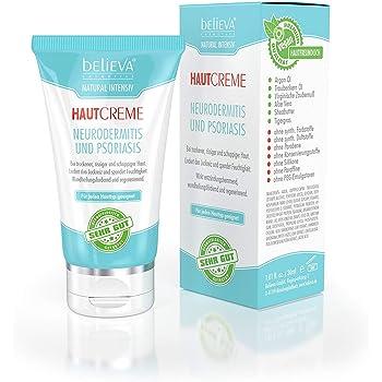 Believa Natural Intensiv Hautcreme gegen Neurodermitis und Psoriasis (Schuppenflechte). 100% Vegane Creme 30ml - Made In Germany