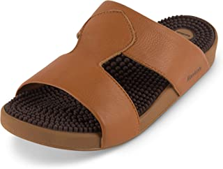 Japanese Massage/Reflexology Sandal by Kenkoh - Men's Musashi Genuine Leather Slip on Shoe - For Acupressure Therapy