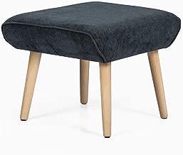 Adeco Modern Simple Nordic Fabric Ottoman Seat Stool, 21x18x17, Dark Gray