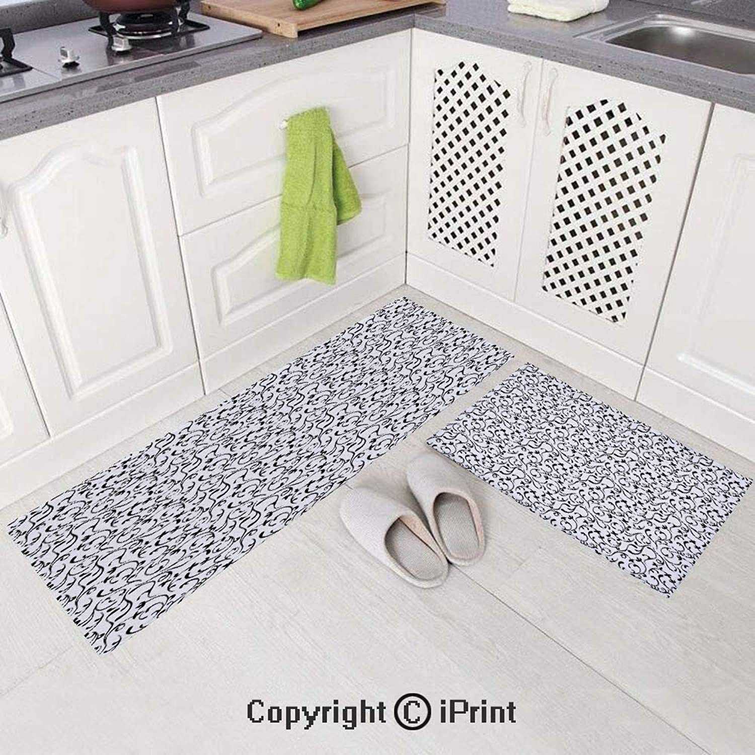 2 Piece Flannel Kitchen Rugs Cushioned Chef Soft (15 x47 +15 x23 ) Spring Themed Garden Pattern Monochrome Style Traditional Vintage Swirls Decorative,Non-Slip Rubber Back Floor Mats Washable Doormat