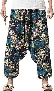 PERDONTOO Men Women Cotton Harem Yoga Baggy Genie Boho Pants