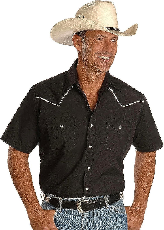 e947fbf7c51ff6 ELY CATTLEMAN Men's Short Short Short Sleeve Western Shirt Black b8c2a1