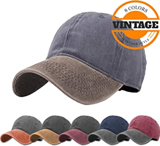 4c42e01c63f Unisex Vintage Washed Distressed Baseball-Cap Twill Adjustable Dad-Hat