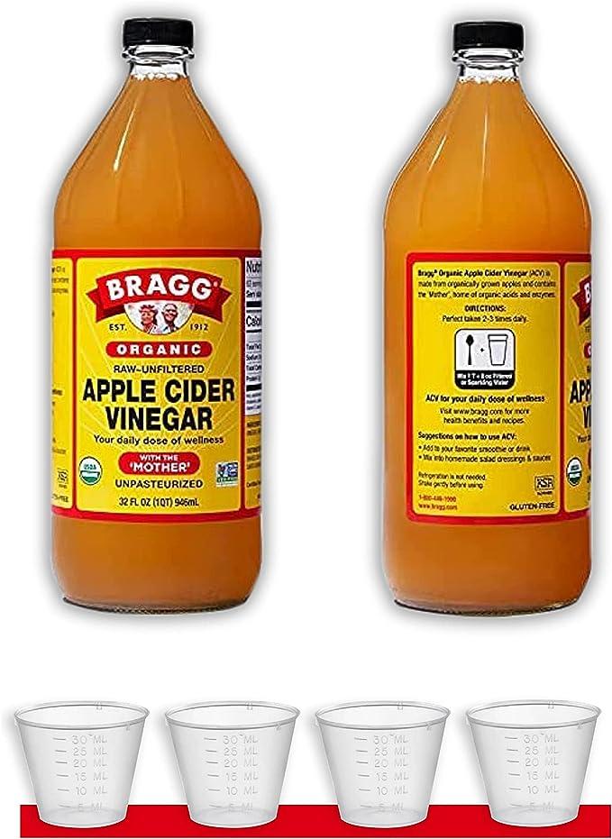 Bragg 2X ORGANIC RAW APPLE CIDER VINEGAR GLUTEN FREE 946ML Pack of 2 [4 - FREE CUP]