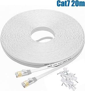 Cat7 LANケーブル 20m ホワイト, FOSTO イーサネットケーブル ウルトラフラットケーブル 高速 STP 爪折れ防止 RJ45コネクタ ギガビット10Gbps/600MHz 金メッキコネクタ 20M 白