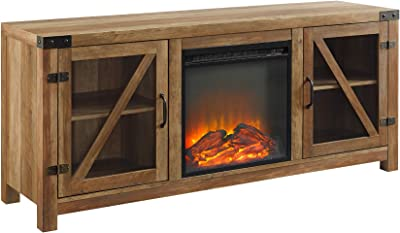 """Walker Edison Farmhouse Barn Wood and Glass Fireplace Stand for TV's up to 64"""" Flat Screen Living Room Storage Cabinet Doors and Shelves Entertainment Center, 58 Inch, Reclaimed Barnwood"""
