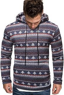 Hoodie for Men Christmas Striped Sweatshirt Hooded Jacket Sweater Jumper