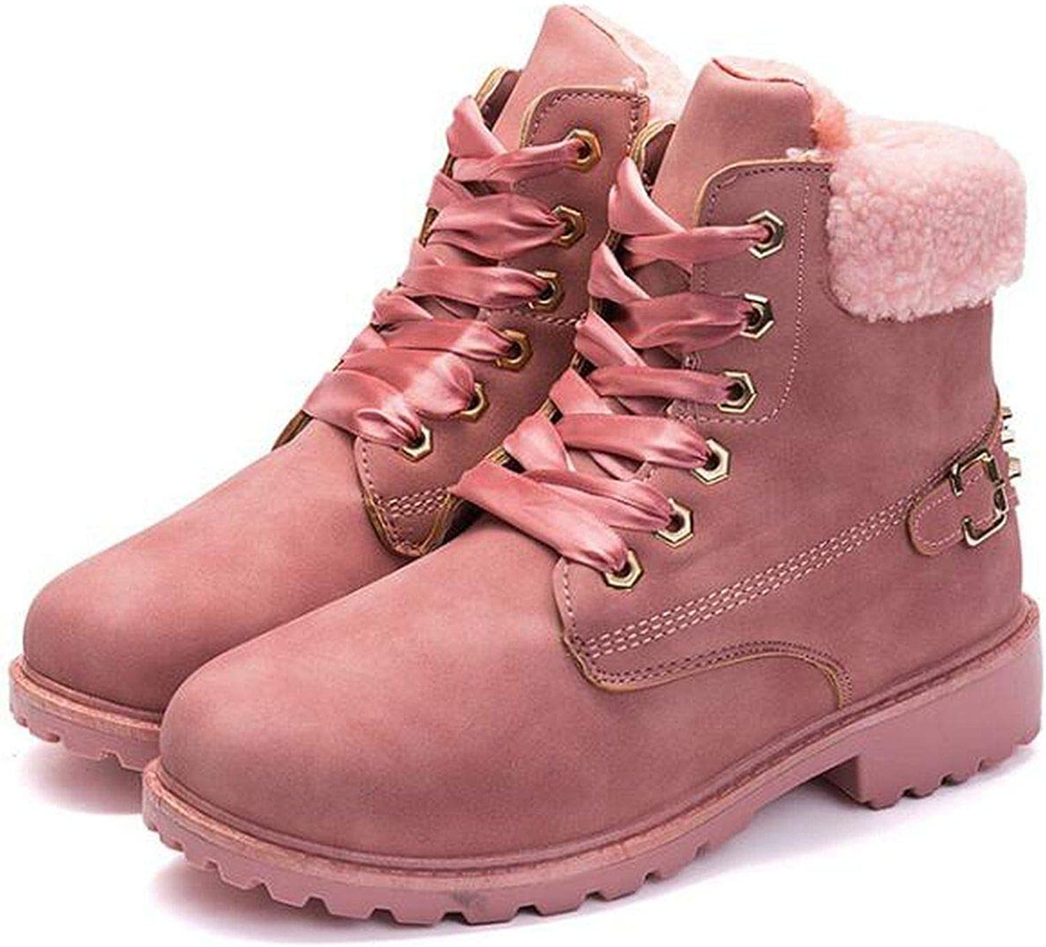 Summer-lavender Women Boots Lace-up Rivet Casual Ankle Boots Round Toe Winter Snow Boots Warm British Style