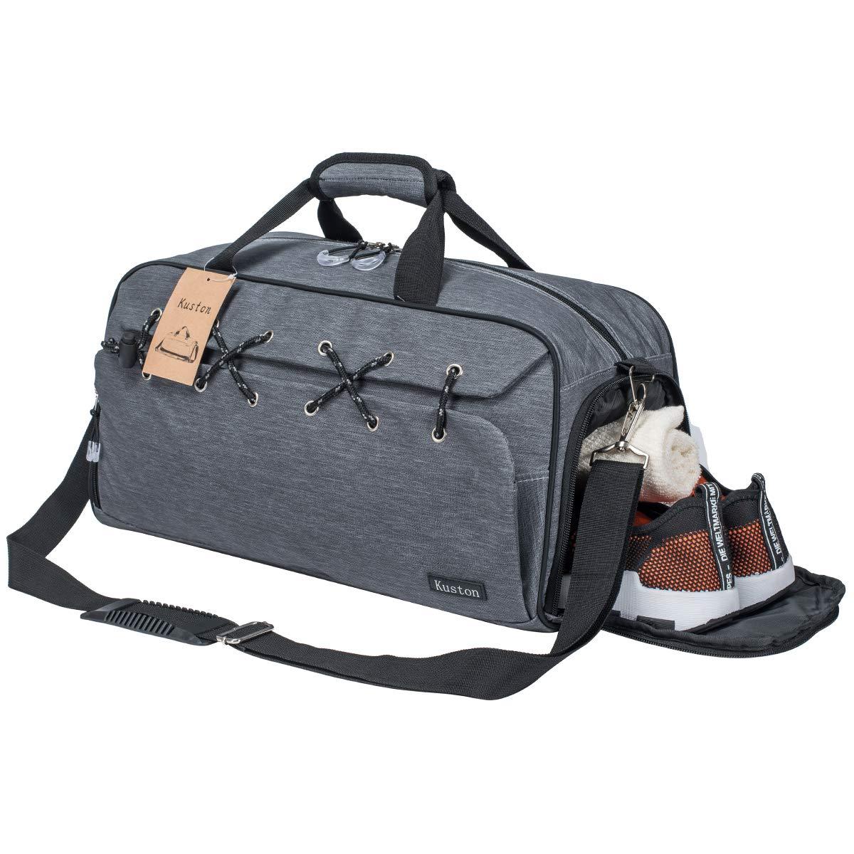 スポーツフィットネス靴コンパートメントユニセックスグレーOne_Size付きバッグトラベルラゲッジバッグ