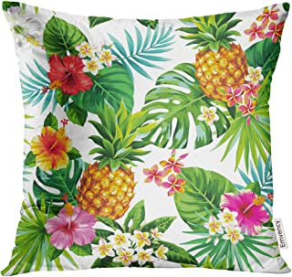 Golee Throw Pillow Cover Summer Tropical Pattern with Pineapples Palm Leaves and Flowers Aloha Beach Decorative Pillow Case Home Decor Square 18x18 Inches Pillowcase
